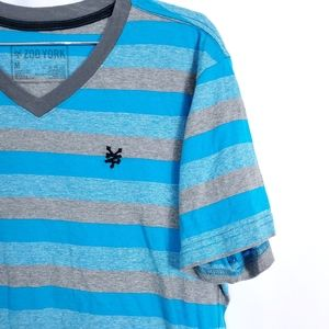 Zoo Work Stripe V Neck Cotton Blend Shirt